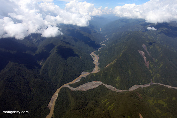 River valley on the Amazon side of the lower Andes, Peru. Photo credit: Rhett Butler.