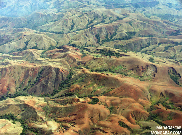 Aerial view of erosion in Madagascar