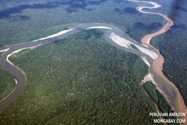 Lowland rainforest rivers joining in Peru
