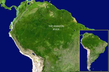 Sdamerika mit dem Amazonasbecken von einem NASA-Satelliten aus gesehen. 