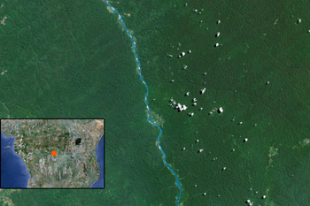 Google Earth citra Sungai Sankuru di DRC