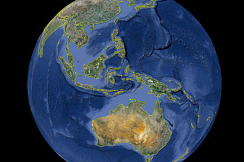 Google Earth-Bild von Indonesien