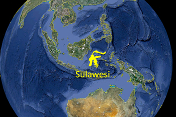 L'le de Sulawesi sur Google Earth