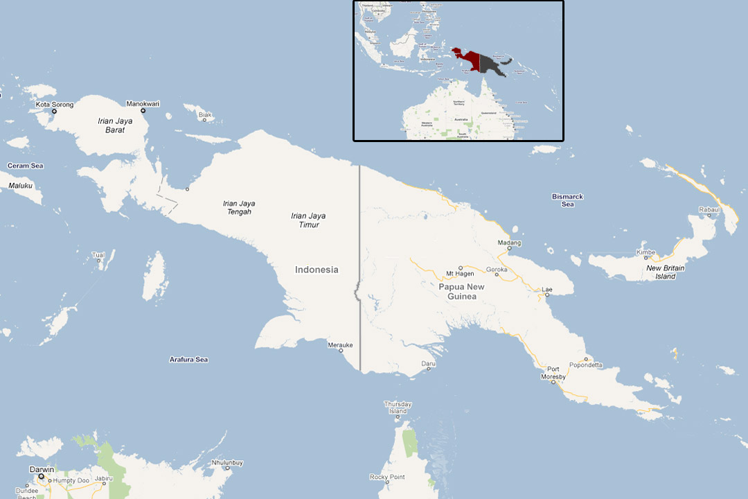 Google map of New Guinea