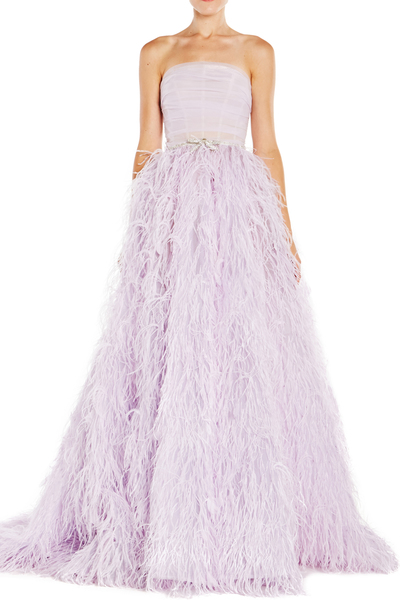 Cropped feather gown