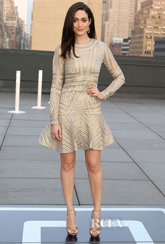 Emmy rossum in monique lhuillier american express and uber mobile loyalty program launch amexuber