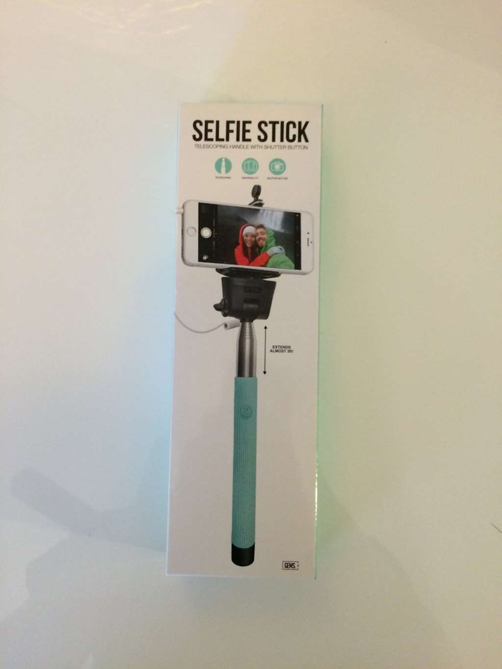 selfie stick with shutter button gems extendable wired self portrait for iphone ebay. Black Bedroom Furniture Sets. Home Design Ideas