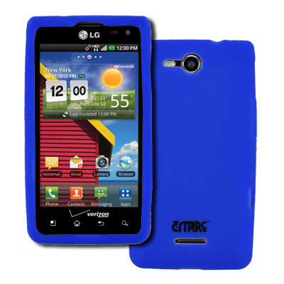 Empire Blue Silicone Skin Case Cover Phone Stand for LG Lucid 4G VS840