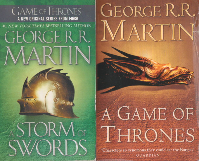 2 George R.R. Martin Paperback Novels:A Game Of Thrones & Storm of Swords, George R. R. Martin