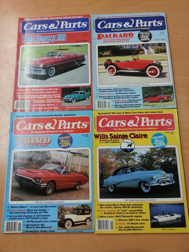 """""""4 Cars & Parts Magazines from 1985:  February, March, June, and August"""""""