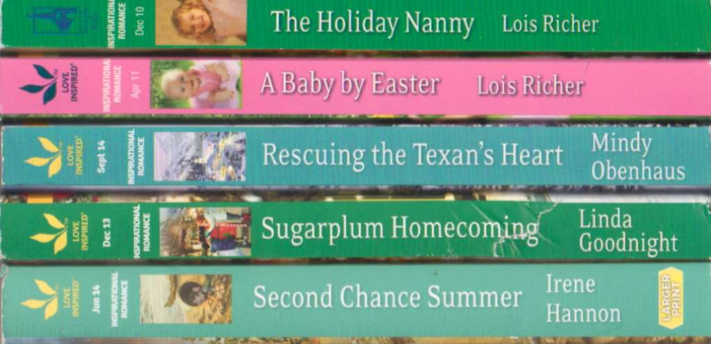 """""""5 New Harlequin Love Inspired Inspirational Romance Novels Together: Second Chance Summer, Sugarplum Homecoming, Rescuing The Texan's Heart, A Baby By Easter, The Holiday Nanny"""", """"Irene Hannon, Linda Goodnight, Mindy Obenhaus, Lois Richer"""""""