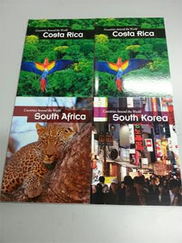 """Lot of 4 Countries Around the World Paperback Books:  South Korea, South Africa, 2 Copies of Costa Rica"""