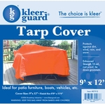 9' x 12 ' Heavy Duty Tarp Cover - Orange 10 mil Woven Poly image