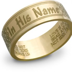 14k gold in his name bible verse ring - Christian Wedding Rings