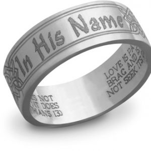 "14K White Gold ""In His Name"" Bible Verse Ring"