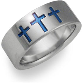 blue cross titanium wedding band ring - Christian Wedding Rings