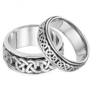 His and Hers Celtic Wedding Band Set in 14K White Gold