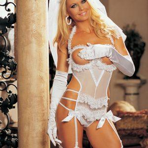 White Mesh Teddy 3 PC. Bridal Intimate Set
