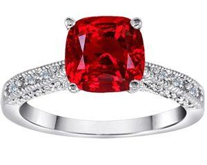 Original Star K™ Cushion Cut Created Ruby Solitaire Ring