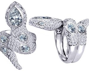 Original Star K™ Good Luck Snake Ring with Simulated White Topaz Stones