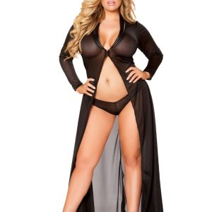 Black Sheer Mesh Plus Size Robe 2Pc Intimate Set
