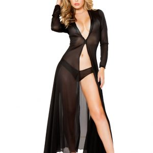 Black Sheer Mesh Robe 2Pc Intimate Set
