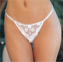 "Embroidered Crotchless Thong Panties ""SH - 10"""