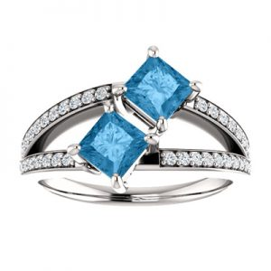 4.5mm Princess Cut Blue Topaz and Diamond 2 Stone Ring in 14K White Gold