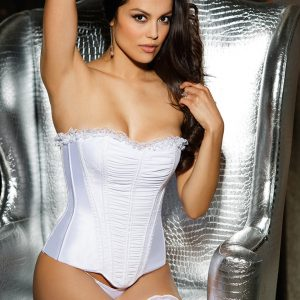 White Shirred Mesh Lace Trimmed Satin Corset