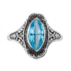 Marquise Cut Blue Topaz Art Deco Style Ring in 14K White Gold