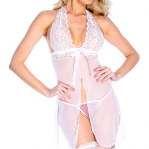 Sexy White Floral Lace Mesh Halter Baby Doll Intimates