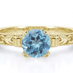 1 Carat Art Deco Blue Topaz Engagement Ring, 14K Yellow Gold