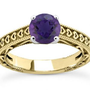 Heart Band Purple Amethyst Engagement Ring, 14K Yellow Gold