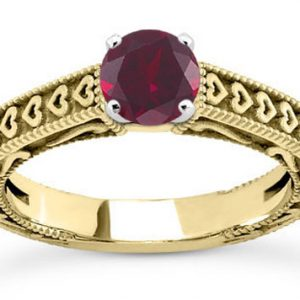Engraved Heart Band Red Ruby Engagement Ring, 14K Yellow Gold