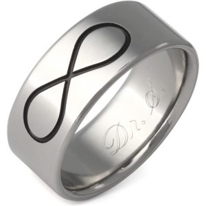 Black Titanium Infinity Symbol Wedding Band Ring