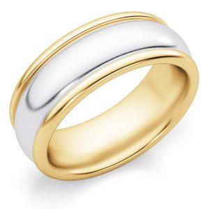 7mm Plain Two-Tone Gold Wedding Band