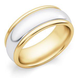 8mm Plain Polished Two-Tone Gold Wedding Band Ring