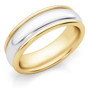 6mm Two-Tone Gold Wedding Band Ring