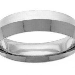 6mm Knife-Edge White Gold Wedding Band Ring