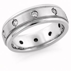 10-Stone Men's Silver Wedding Band Ring