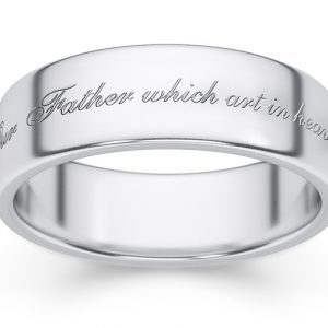 """Hallowed by Thy Name"" Sterling Silver Bible Verse Ring"