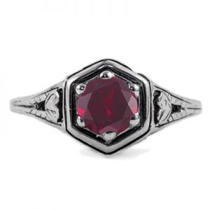 Heart Design Vintage Style Ruby Ring in Sterling Silver