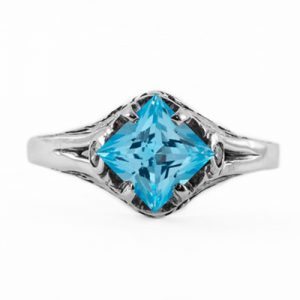 Art Deco Style Princess Cut Blue Topaz Ring in Sterling Silver
