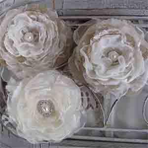 Elegant Burlap Rose Cake Topper