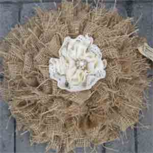 Burlap and Lace Shabby Flower