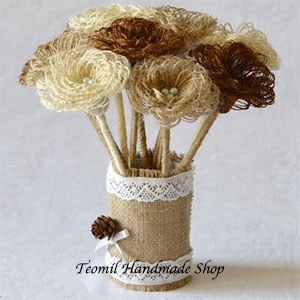 Looped Burlap Flowers with Stems