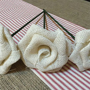 White Long Stem Burlap Roses