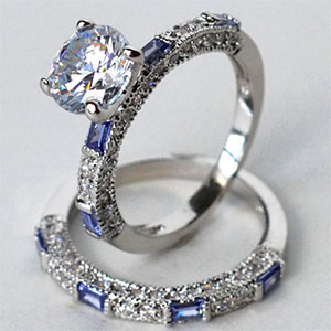 CZ and Tanzanite Wedding Band Set