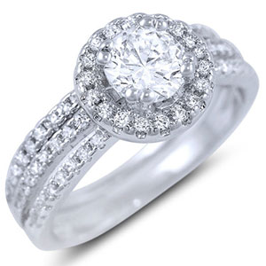 Halo Pave CZ Silver Wedding Band Set