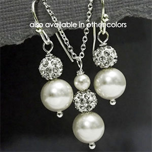 Pearl and Crystal Earring and Necklace Set